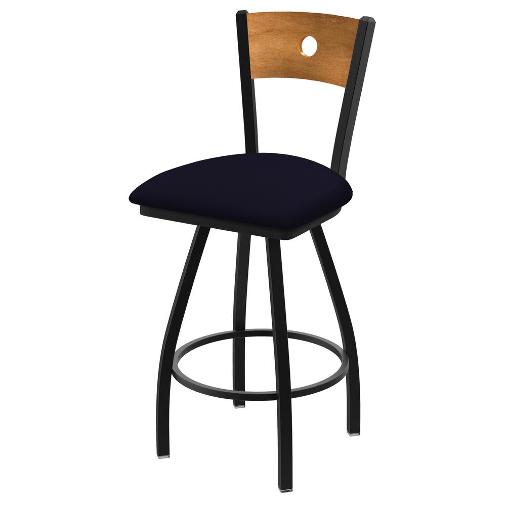 """XL 830 Voltaire 25"""" Swivel Counter Stool with Black Wrinkle Finish, Medium Back, and Canter Twilight Seat. Picture 1"""