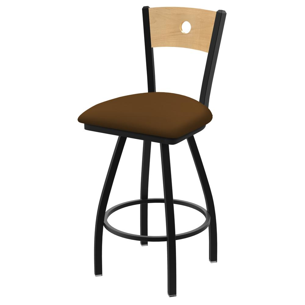 """XL 830 Voltaire 25"""" Swivel Counter Stool with Black Wrinkle Finish, Natural Back, and Canter Thatch Seat. Picture 1"""