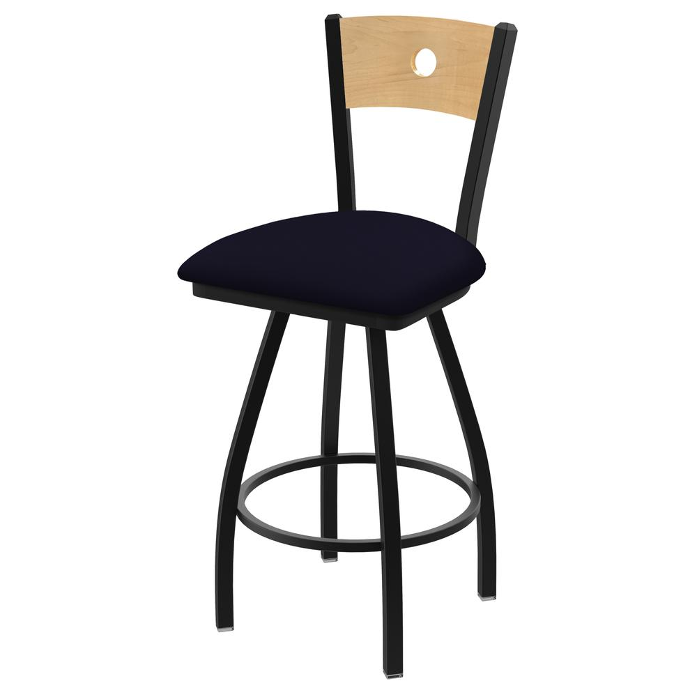 """XL 830 Voltaire 25"""" Swivel Counter Stool with Black Wrinkle Finish, Natural Back, and Canter Twilight Seat. Picture 1"""