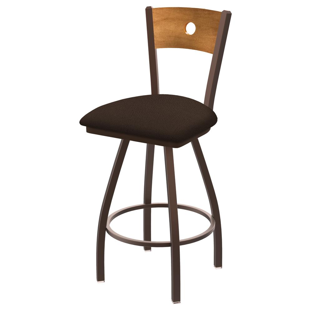 """XL 830 Voltaire 25"""" Swivel Counter Stool with Bronze Finish, Medium Back, and Rein Coffee Seat. Picture 1"""