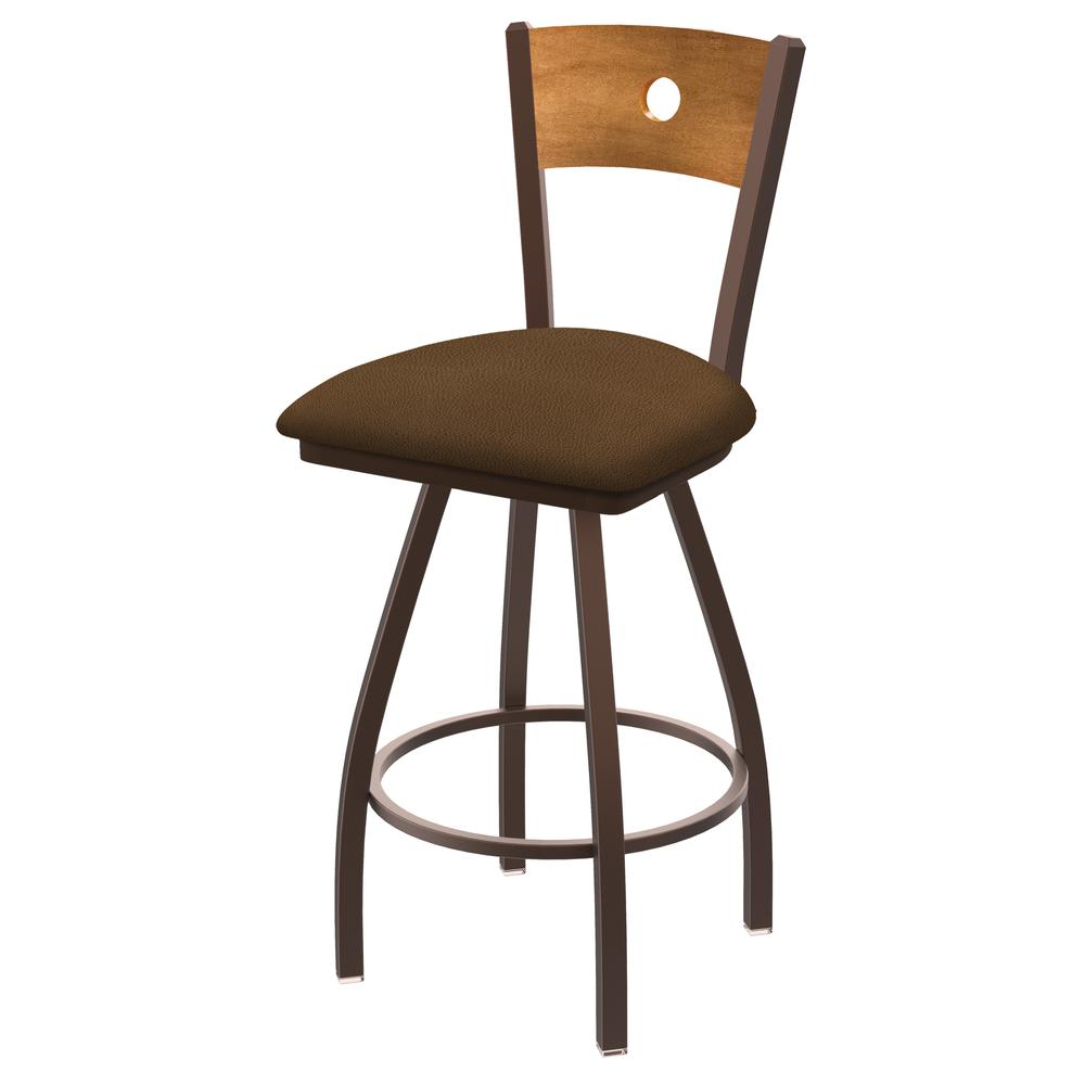 """XL 830 Voltaire 25"""" Swivel Counter Stool with Bronze Finish, Medium Back, and Rein Thatch Seat. Picture 1"""