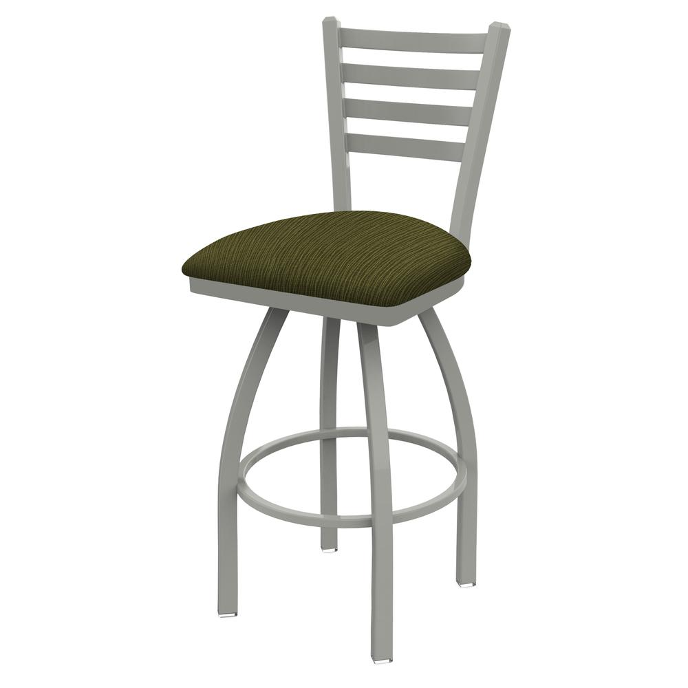 """410 Jackie 36"""" Swivel Bar Stool with Anodized Nickel Finish and Graph Parrot Seat. Picture 1"""