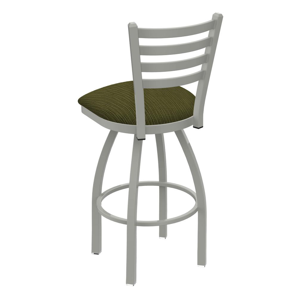 """410 Jackie 36"""" Swivel Bar Stool with Anodized Nickel Finish and Graph Parrot Seat. Picture 3"""