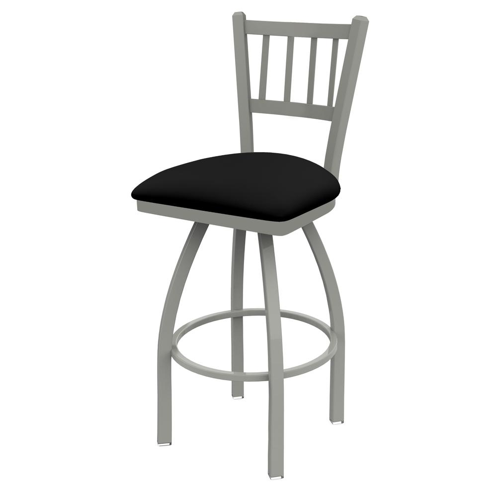 """820 Catalina 25"""" Counter Stool with Anodized Nickel Finish, Black Vinyl Seat, and 360 swivel. Picture 1"""