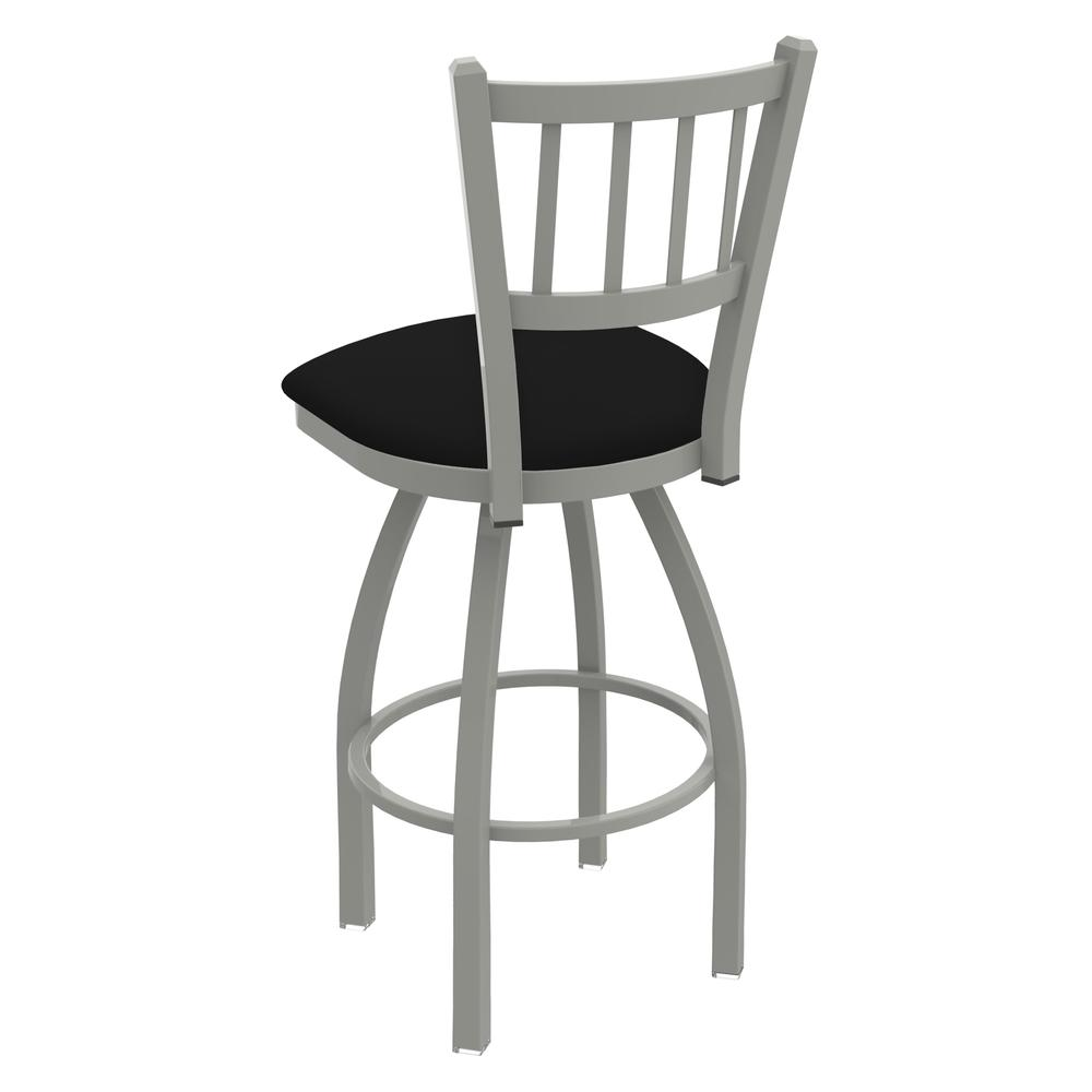 """820 Catalina 25"""" Counter Stool with Anodized Nickel Finish, Black Vinyl Seat, and 360 swivel. Picture 4"""