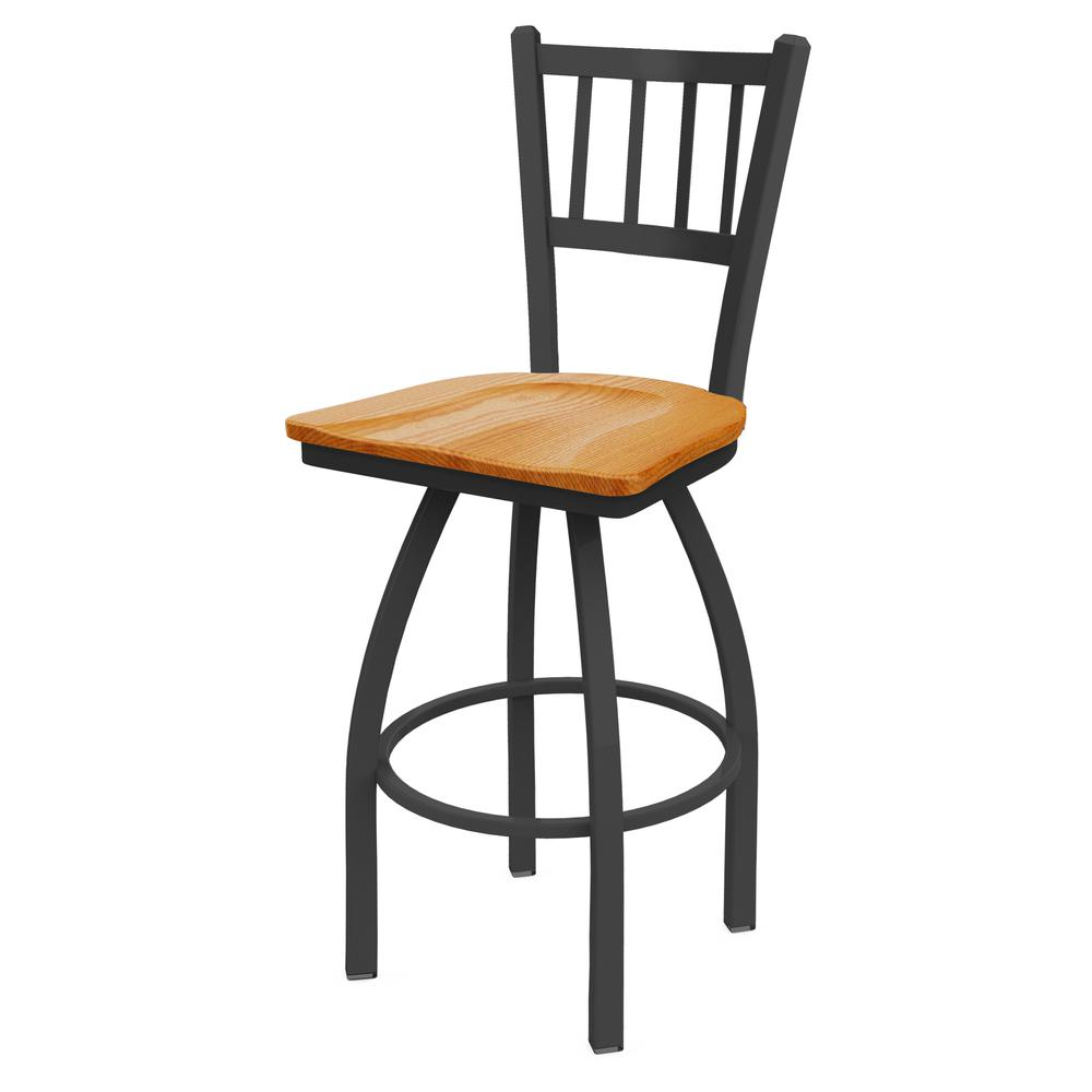 """810 Contessa 30"""" Swivel Bar Stool with Pewter Finish and Medium Oak Seat. Picture 1"""