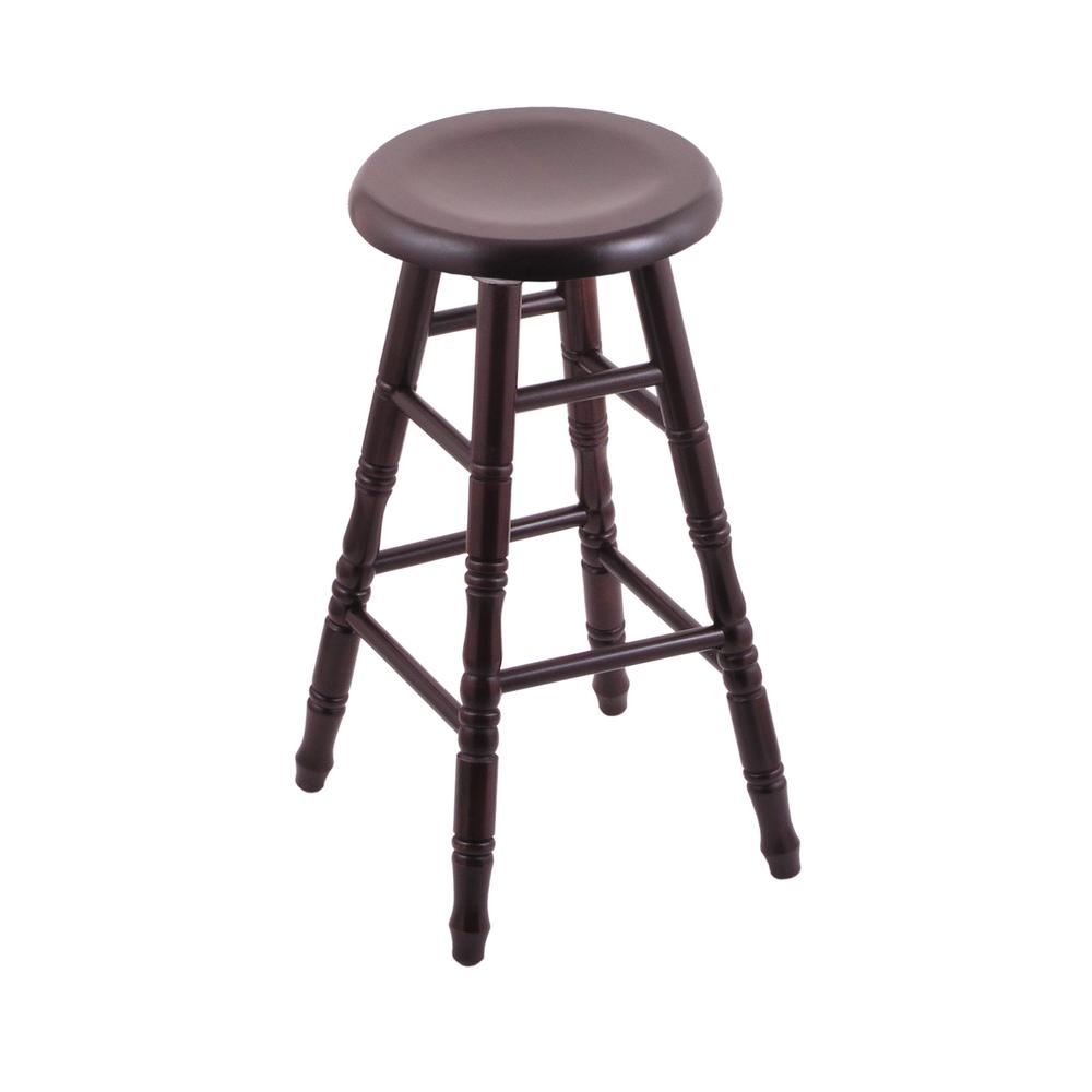 """Maple Saddle Dish 36"""" Swivel Extra Tall Bar Stool with Turned Legs, Dark Cherry Finish. Picture 1"""