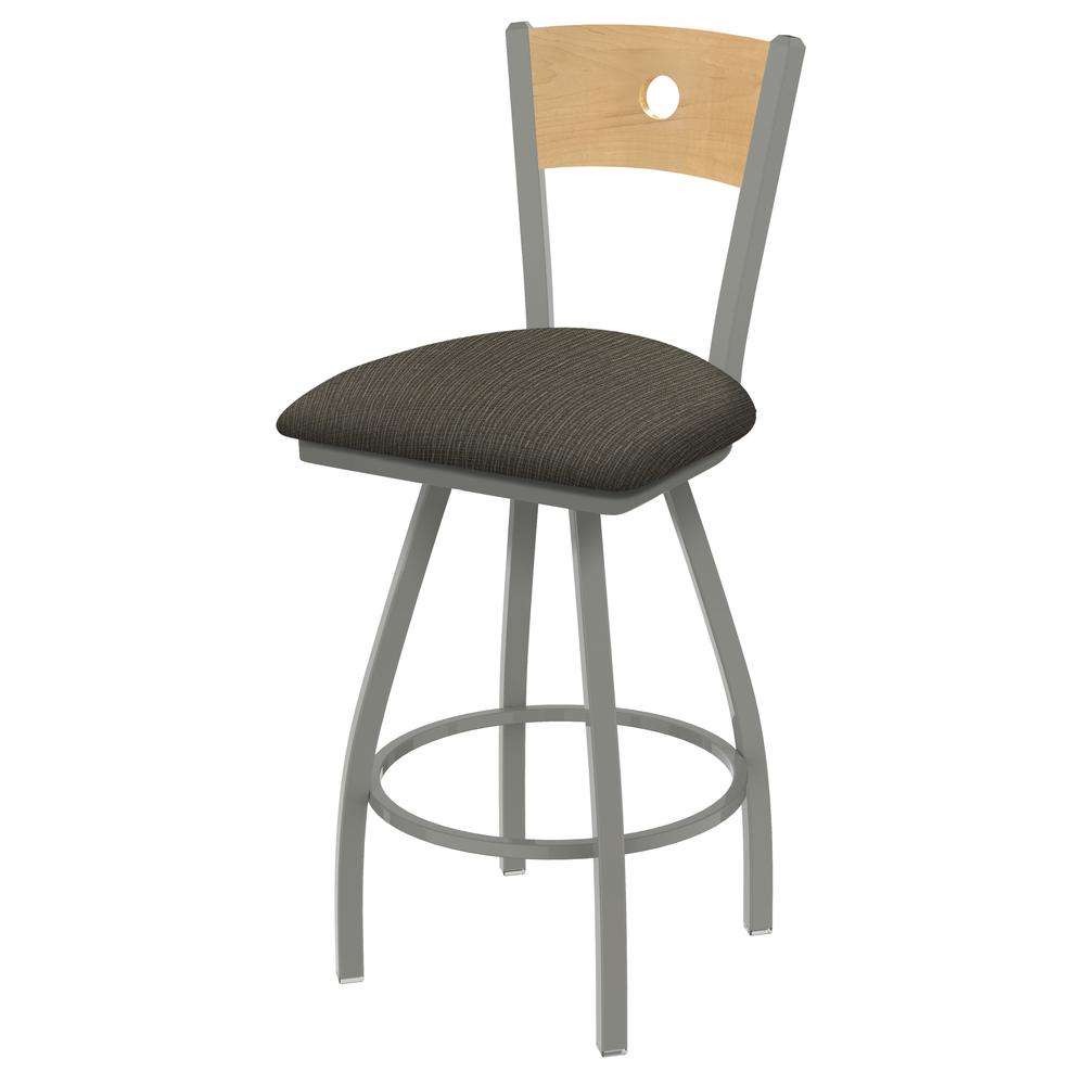 "XL 830 Voltaire 30"" Swivel Counter Stool with Anodized Nickel Finish, Natural Back, and Graph Chalice Seat. Picture 1"