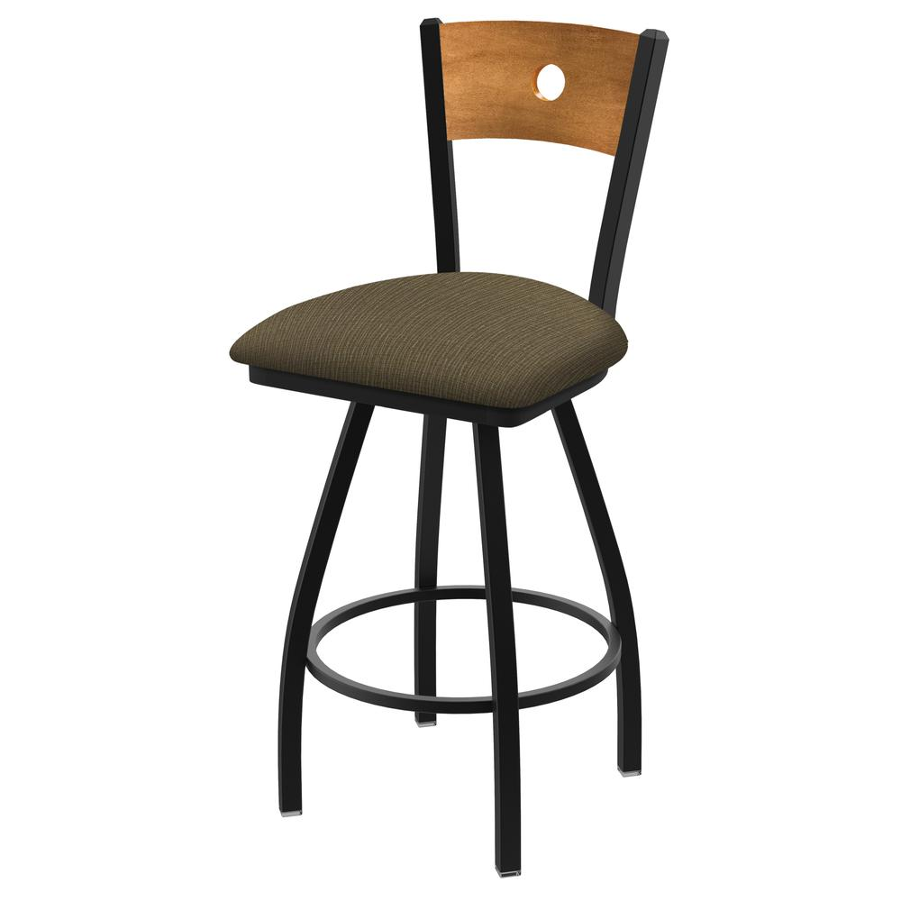 """XL 830 Voltaire 30"""" Swivel Counter Stool with Black Wrinkle Finish, Medium Back, and Graph Cork Seat. Picture 1"""