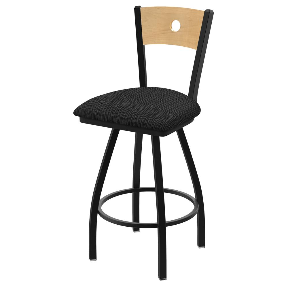 "XL 830 Voltaire 30"" Swivel Counter Stool with Black Wrinkle Finish, Natural Back, and Graph Coal Seat. Picture 1"