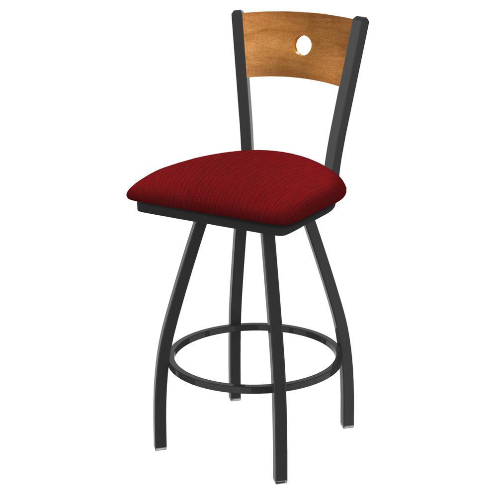 """XL 830 Voltaire 30"""" Swivel Counter Stool with Pewter Finish, Medium Back, and Graph Ruby Seat. Picture 1"""