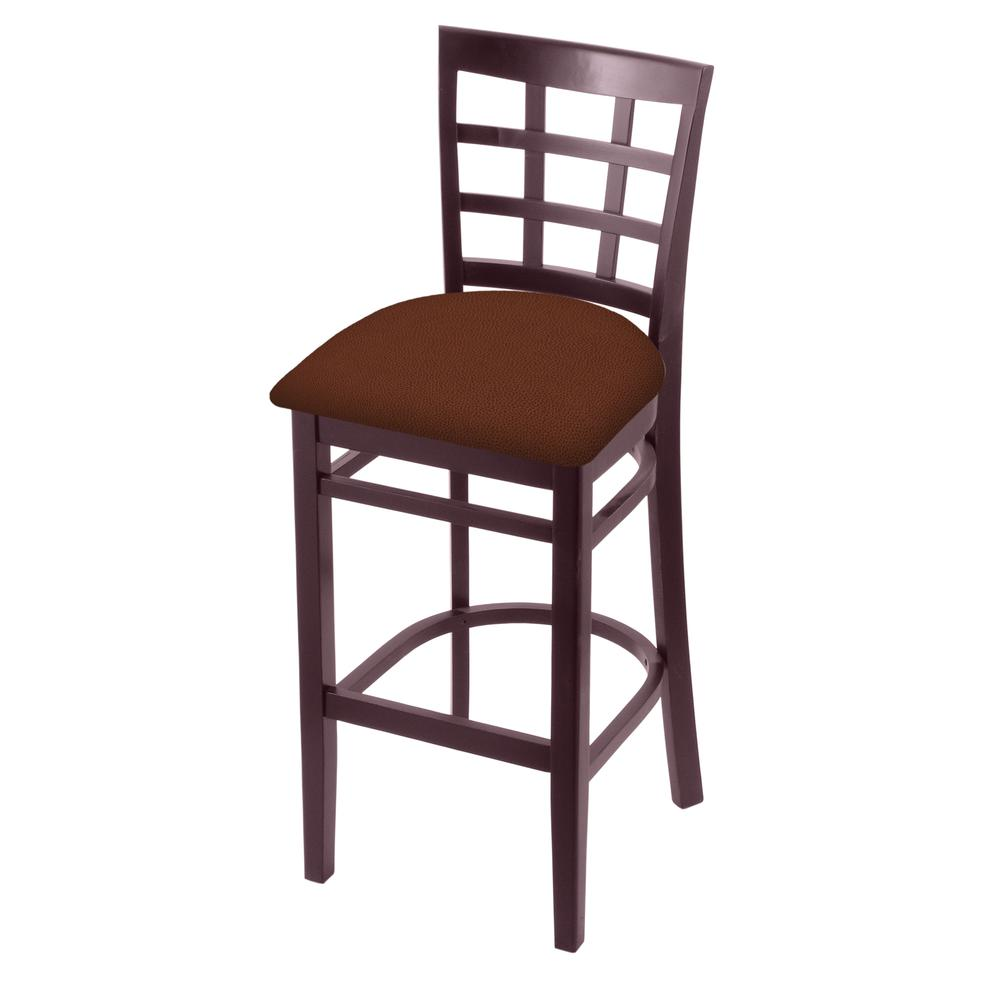 """3130 25"""" Counter Stool with Dark Cherry Finish and Rein Adobe Seat. Picture 1"""