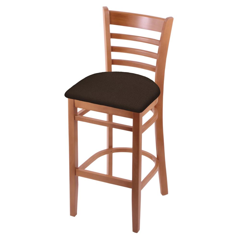 "3140 25"" Counter Stool with Medium Finish and Rein Coffee Seat. Picture 1"