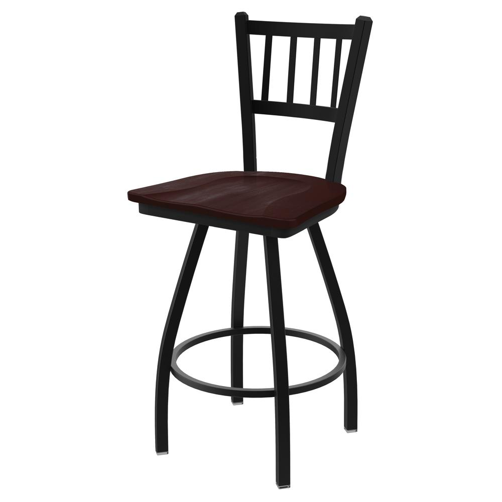 """XL 810 Contessa 30"""" Swivel Bar Stool with Black Wrinkle Finish and Dark Cherry Maple Seat. Picture 1"""