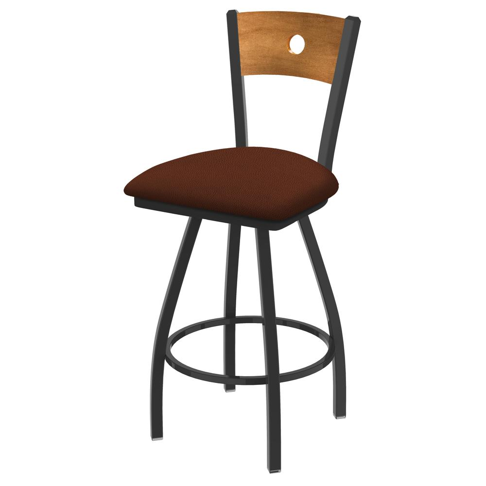"""XL 830 Voltaire 36"""" Swivel Counter Stool with Pewter Finish, Medium Back, and Rein Adobe Seat. Picture 1"""
