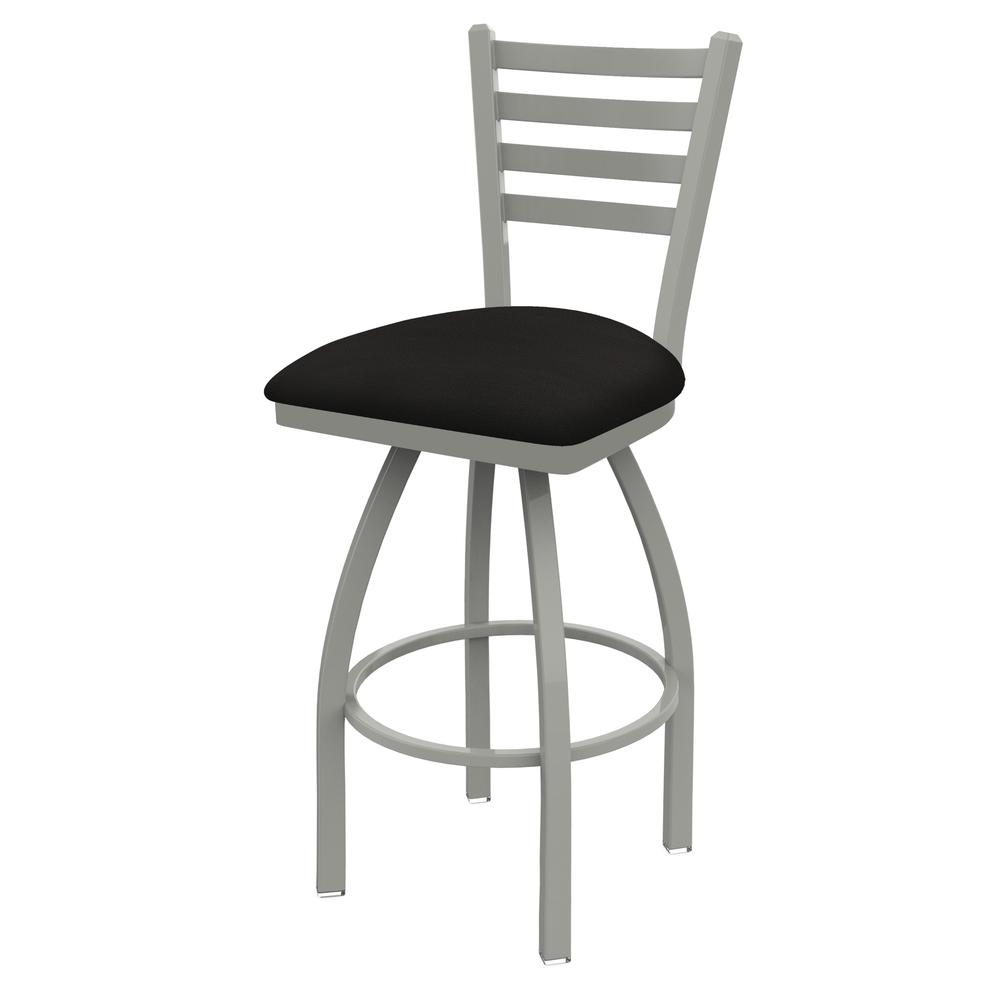 """410 Jackie 25"""" Swivel Counter Stool with Anodized Nickel Finish and Canter Espresso Seat. Picture 1"""