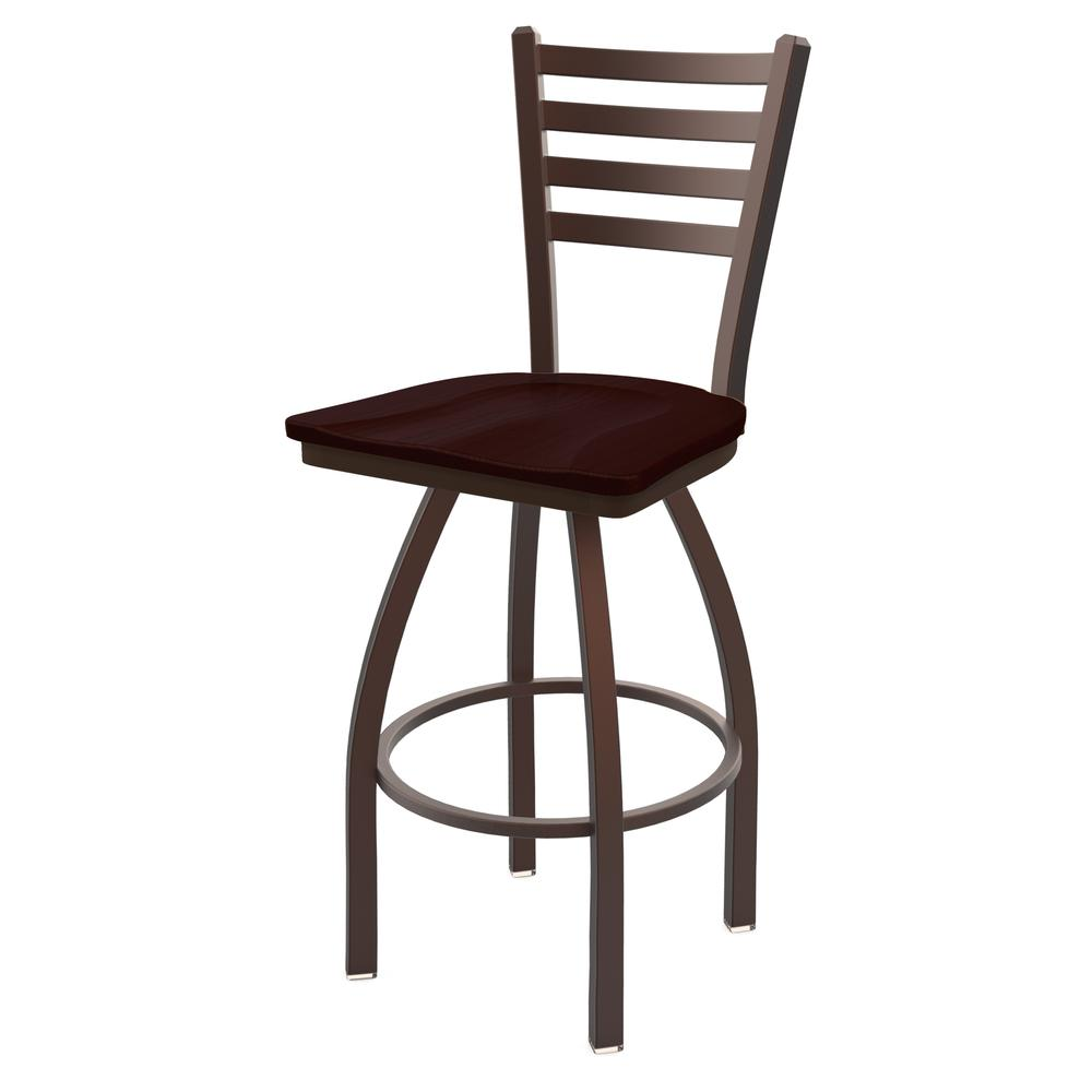 """410 Jackie 25"""" Swivel Counter Stool with Bronze Finish and Dark Cherry Oak Seat. Picture 1"""