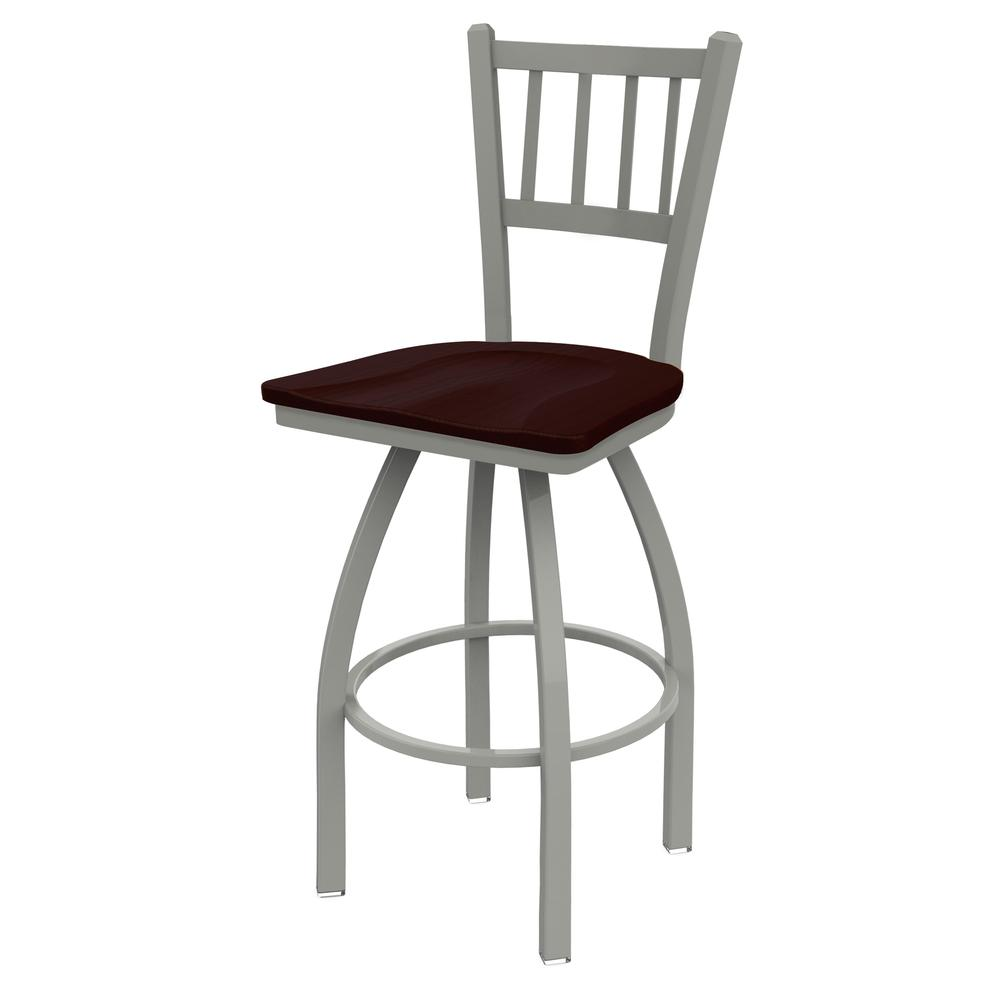 "820 Catalina 25"" Swivel Counter Stool with Anodized Nickel Finish and Dark Cherry Oak Seat. Picture 3"