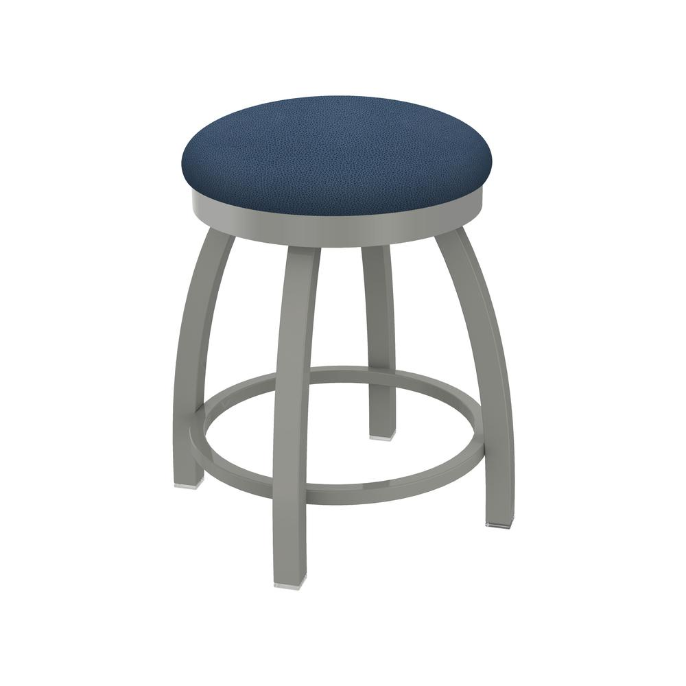 "802 Misha 18"" Swivel Vanity Stool with Anodized Nickel Finish and Rein Bay Seat. Picture 1"