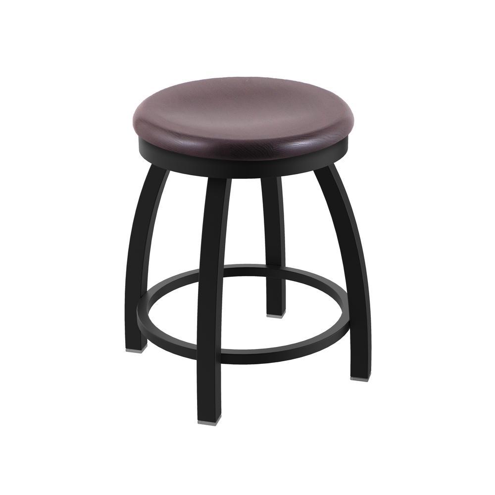 "802 Misha 18"" Swivel Vanity Stool with Black Wrinkle Finish and Dark Cherry Oak Seat. Picture 1"