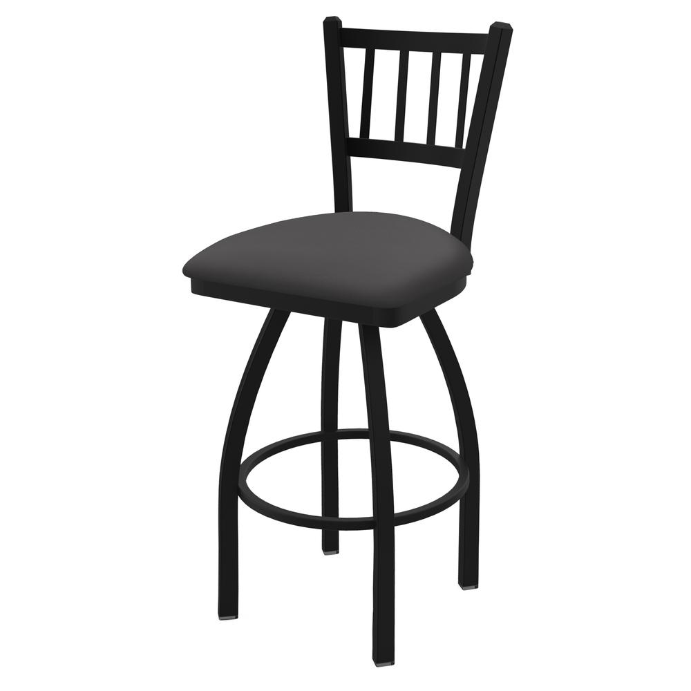 "810 Contessa 25"" Swivel Counter Stool with Black Wrinkle Finish and Canter Storm Seat. Picture 1"
