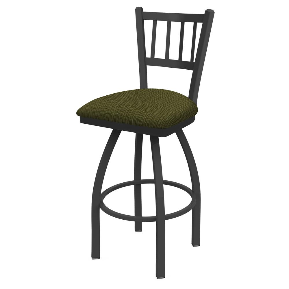 """810 Contessa 25"""" Swivel Counter Stool with Pewter Finish and Graph Parrot Seat. Picture 1"""