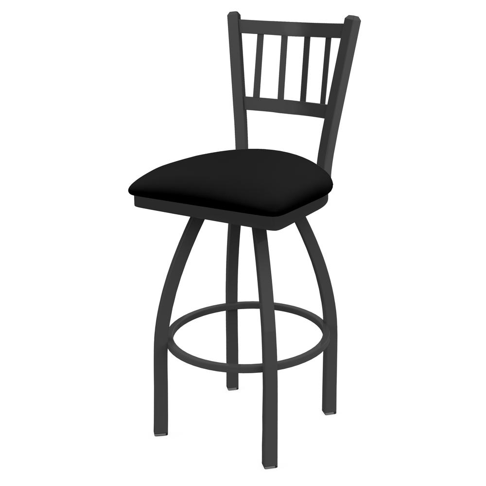 """810 Contessa 25"""" Swivel Counter Stool with Pewter Finish and Black Vinyl Seat. Picture 1"""