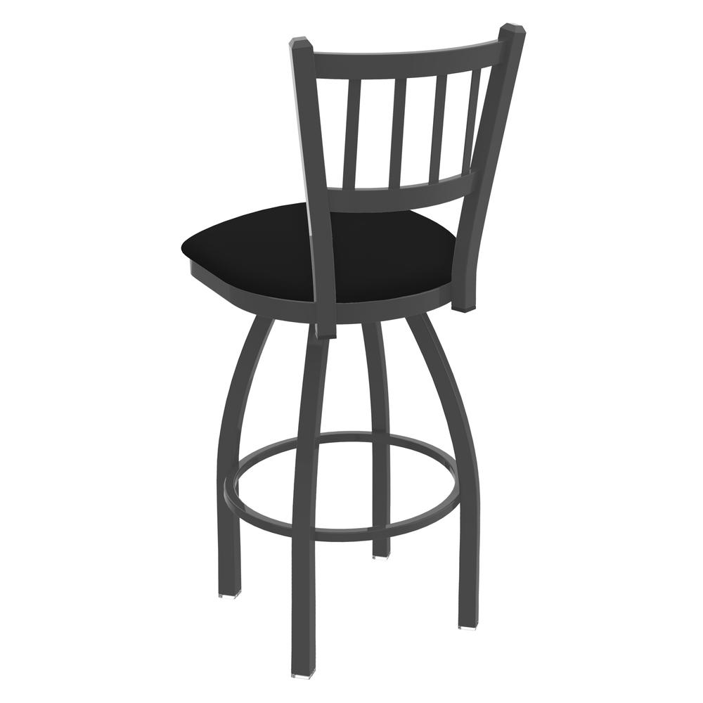 """810 Contessa 25"""" Swivel Counter Stool with Pewter Finish and Black Vinyl Seat. Picture 3"""