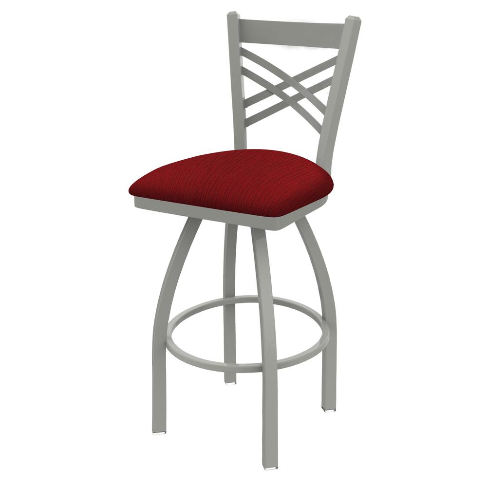 "820 Catalina 30"" Swivel Bar Stool with Anodized Nickel Finish and Graph Ruby Seat. Picture 1"