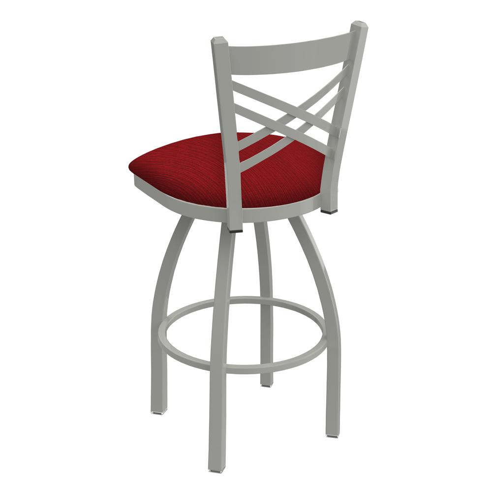 "820 Catalina 30"" Swivel Bar Stool with Anodized Nickel Finish and Graph Ruby Seat. Picture 3"