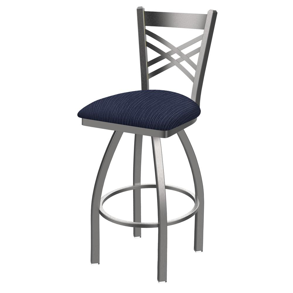 """820 Catalina 25"""" Swivel Counter Stool with Stainless Finish and Graph Anchor Seat. Picture 1"""