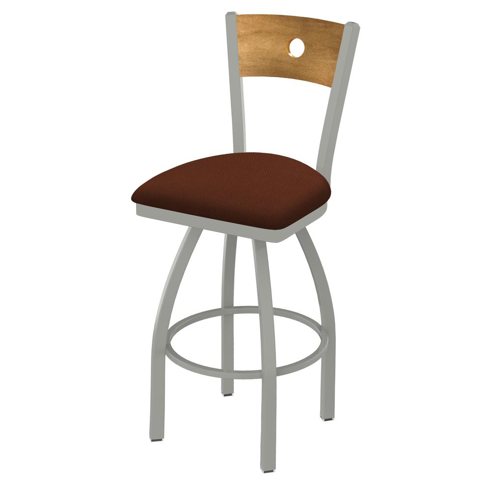"830 Voltaire 25"" Swivel Counter Stool with Anodized Nickel Finish, Medium Back, and Rein Adobe Seat. Picture 1"