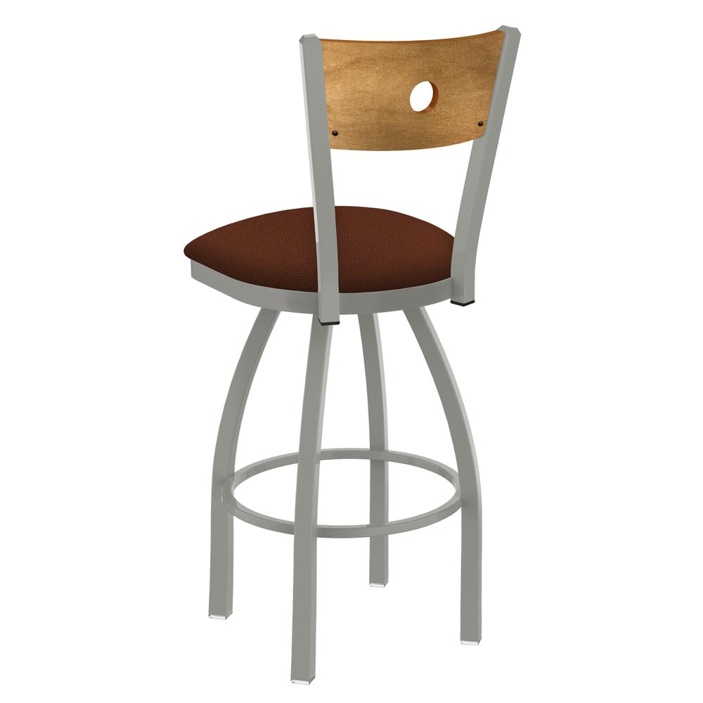 "830 Voltaire 25"" Swivel Counter Stool with Anodized Nickel Finish, Medium Back, and Rein Adobe Seat. Picture 3"