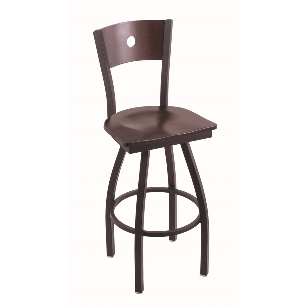 """830 Voltaire 36"""" Bar Stool with Black Wrinkle Finish, Dark Cherry Maple Seat, Dark Cherry Maple Back, and 360 swivel. Picture 1"""