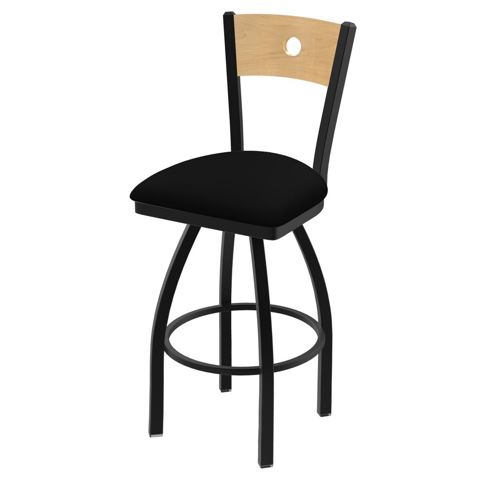 "830 Voltaire 25"" Swivel Counter Stool with Black Wrinkle Finish, Natural Back, and Black Vinyl Seat. Picture 1"