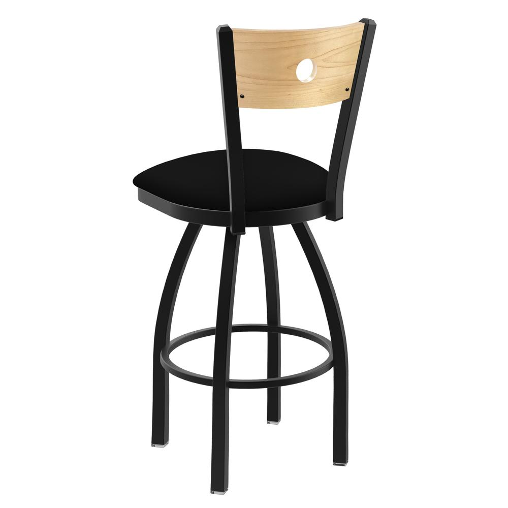 "830 Voltaire 25"" Swivel Counter Stool with Black Wrinkle Finish, Natural Back, and Black Vinyl Seat. Picture 3"