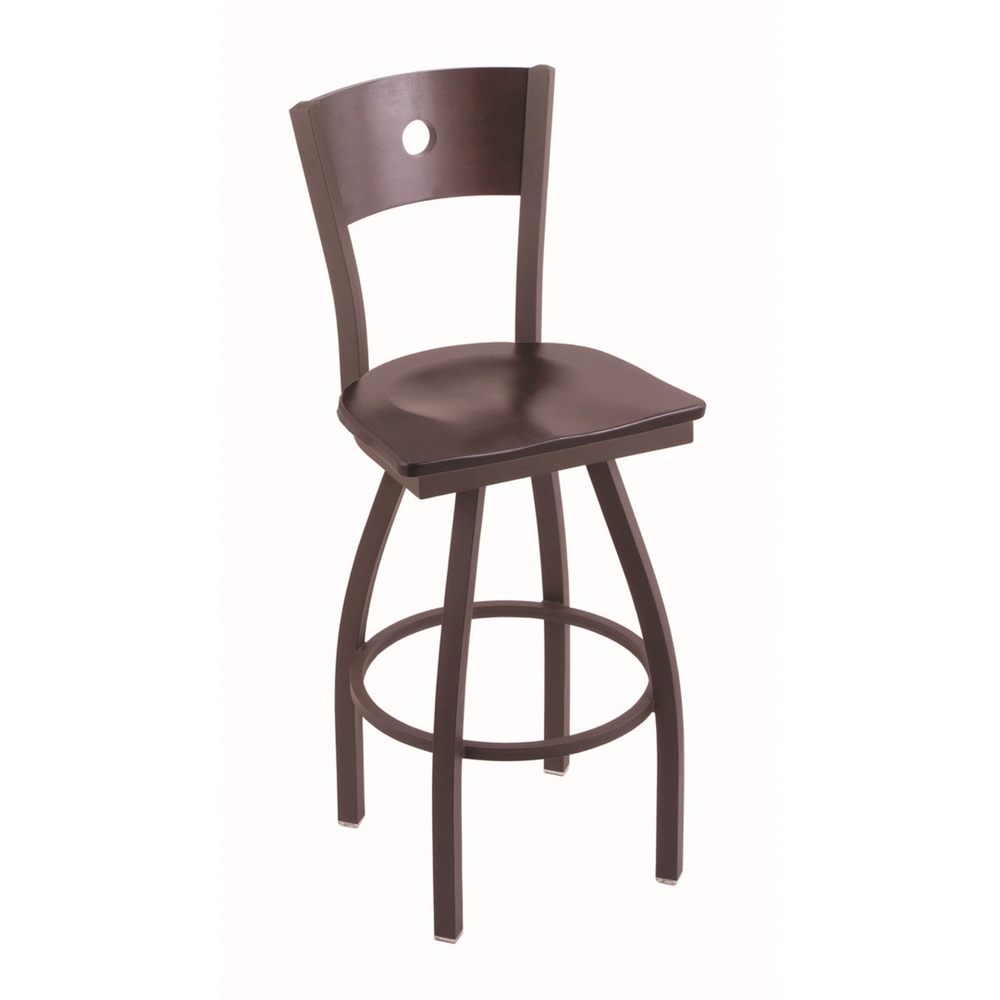 """830 Voltaire 25"""" Counter Stool with Bronze Finish, Dark Cherry Maple Seat, Dark Cherry Maple Back, and 360 swivel. Picture 1"""