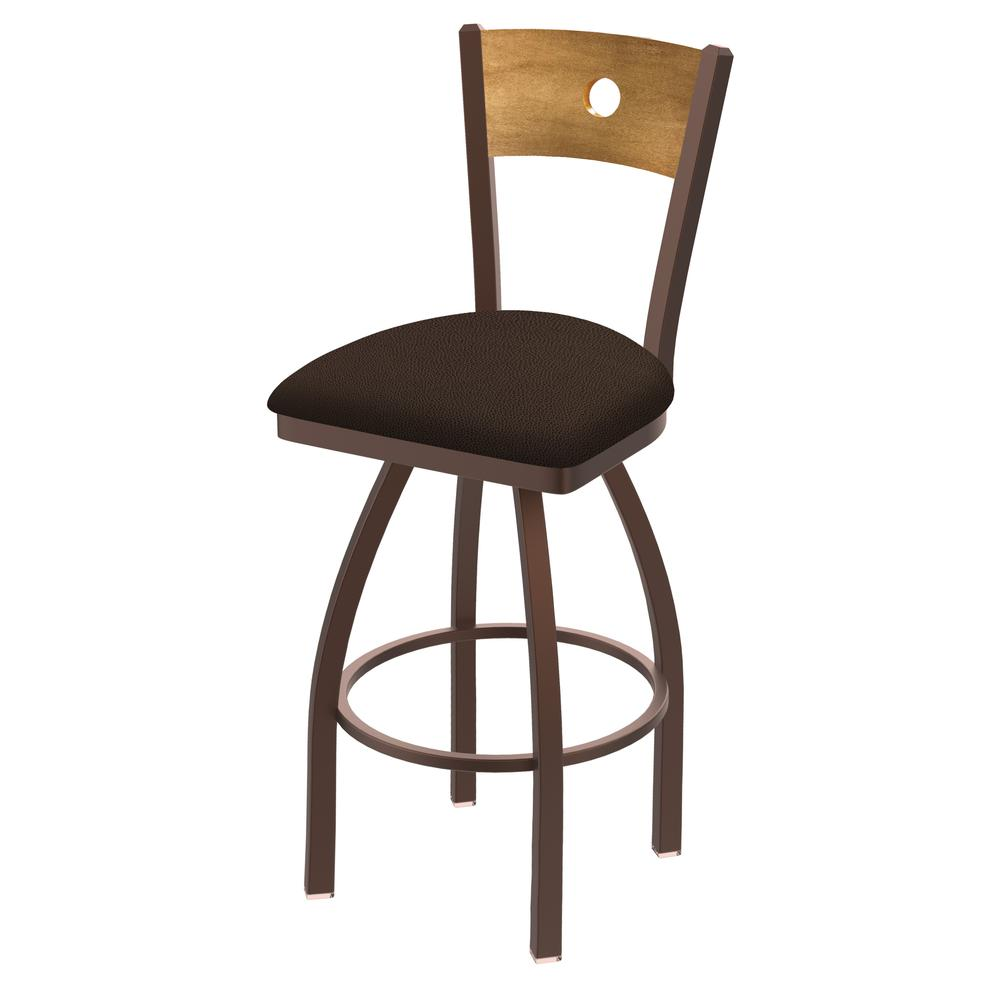 """830 Voltaire 25"""" Swivel Counter Stool with Bronze Finish, Medium Back, and Rein Coffee Seat. Picture 1"""