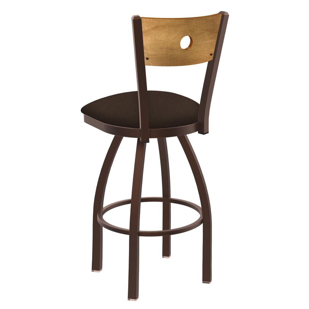 """830 Voltaire 25"""" Swivel Counter Stool with Bronze Finish, Medium Back, and Rein Coffee Seat. Picture 3"""