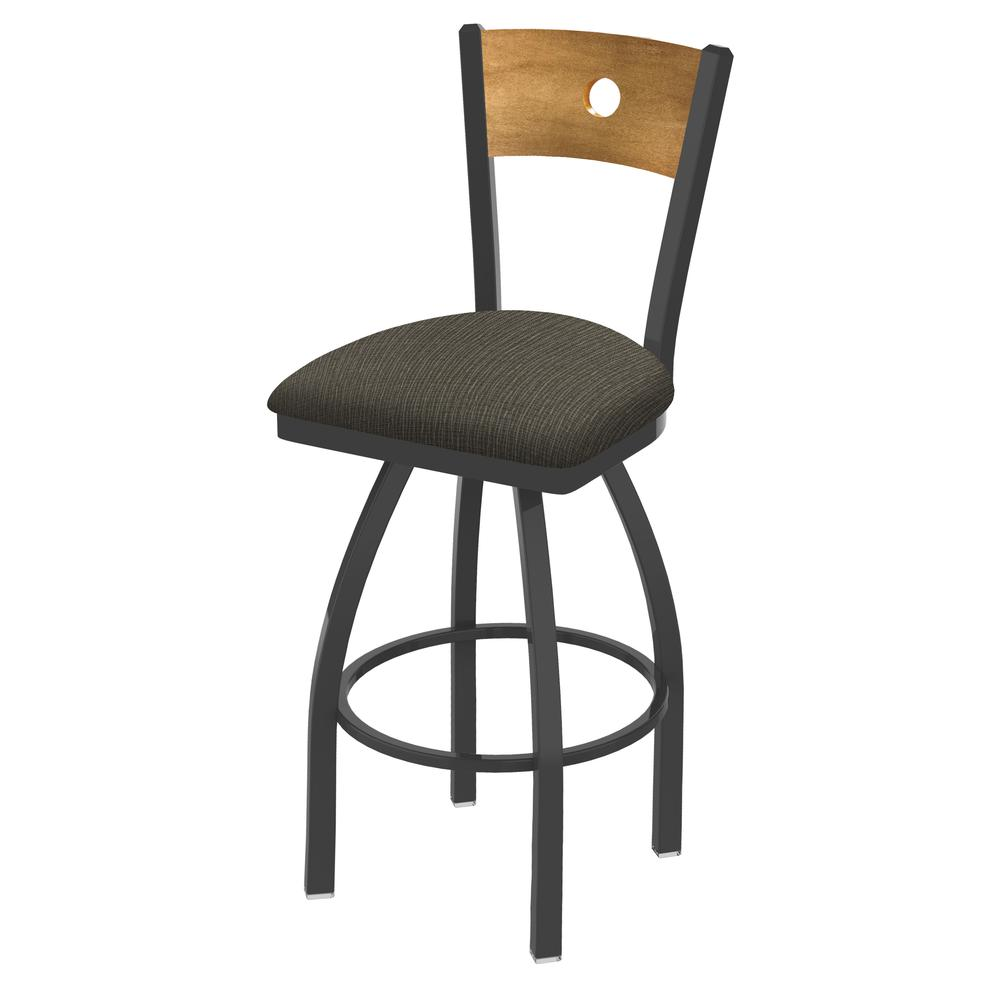 "830 Voltaire 25"" Swivel Counter Stool with Pewter Finish, Medium Back, and Graph Chalice Seat. Picture 1"