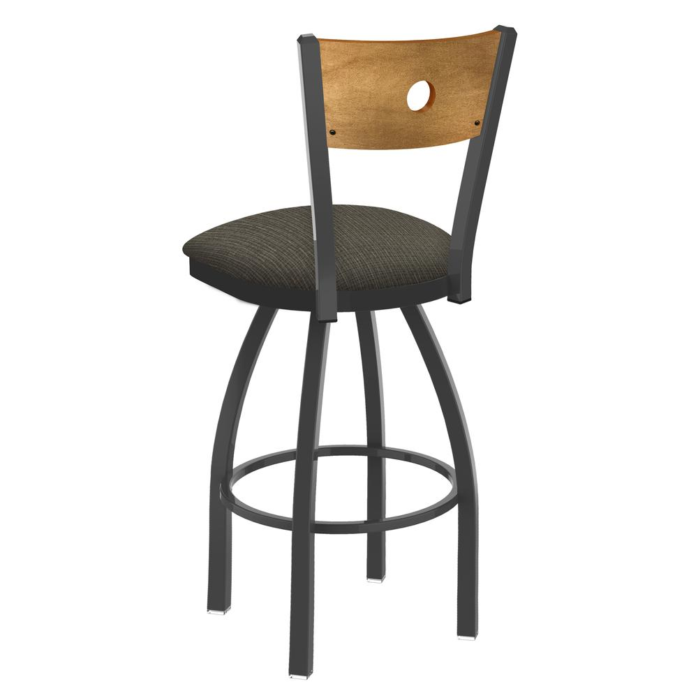 "830 Voltaire 25"" Swivel Counter Stool with Pewter Finish, Medium Back, and Graph Chalice Seat. Picture 3"