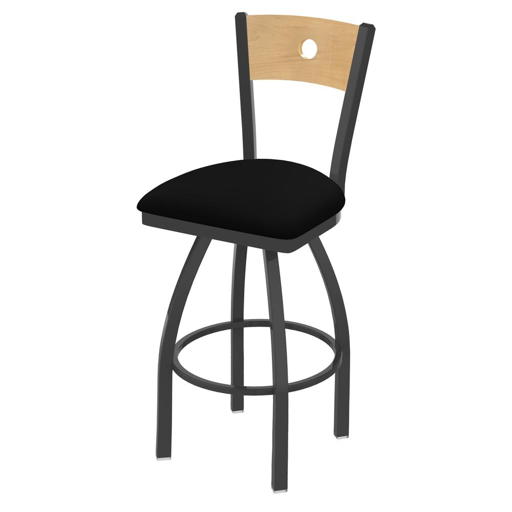 "830 Voltaire 25"" Swivel Counter Stool with Pewter Finish, Natural Back, and Black Vinyl Seat. Picture 1"