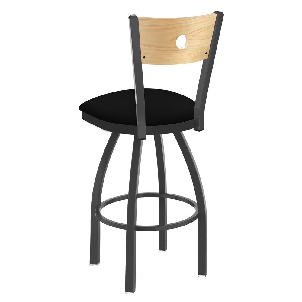 "830 Voltaire 25"" Swivel Counter Stool with Pewter Finish, Natural Back, and Black Vinyl Seat. Picture 3"
