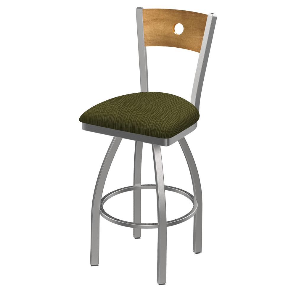 """830 Voltaire 25"""" Swivel Counter Stool with Stainless Finish, Medium Back, and Graph Parrot Seat. Picture 1"""