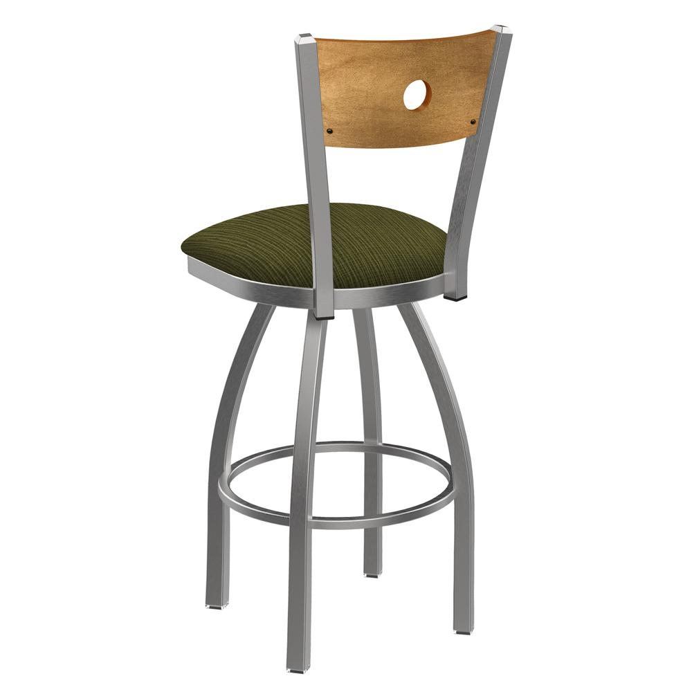 """830 Voltaire 25"""" Swivel Counter Stool with Stainless Finish, Medium Back, and Graph Parrot Seat. Picture 3"""