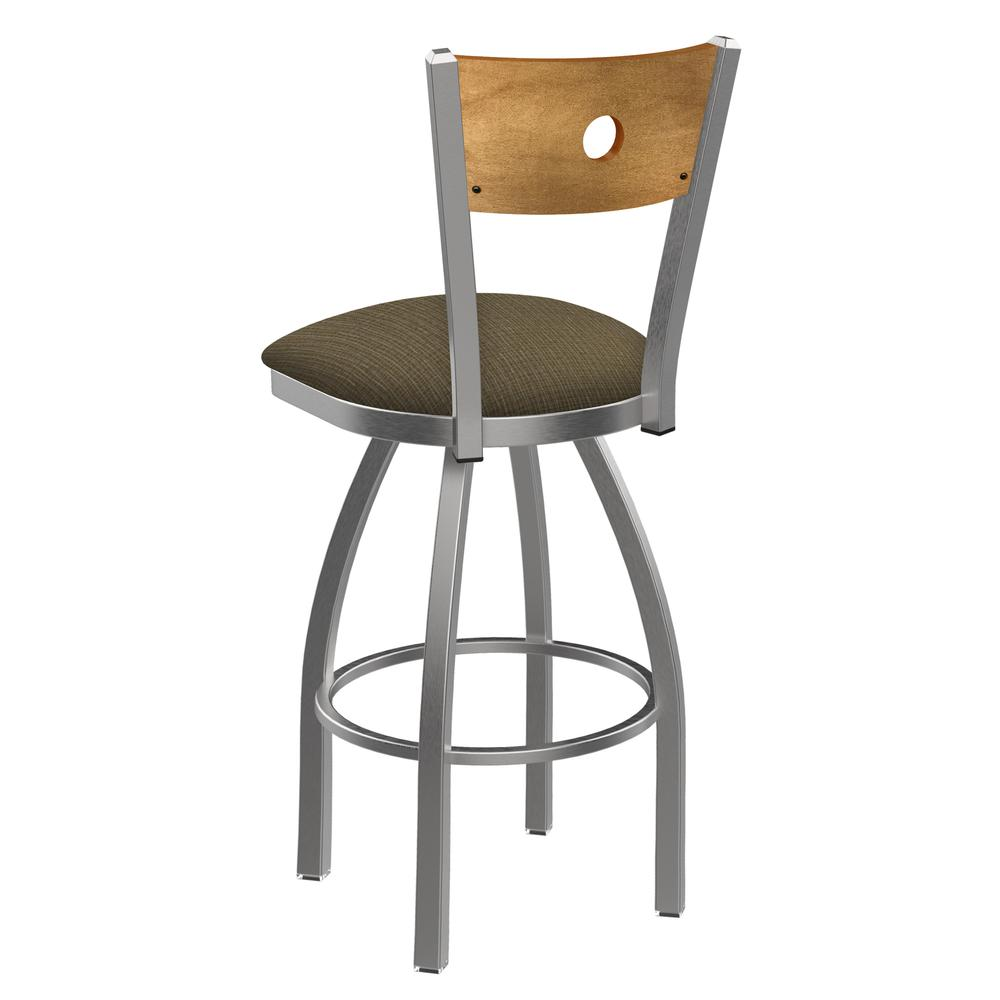 """830 Voltaire 25"""" Swivel Counter Stool with Stainless Finish, Medium Back, and Graph Cork Seat. Picture 3"""