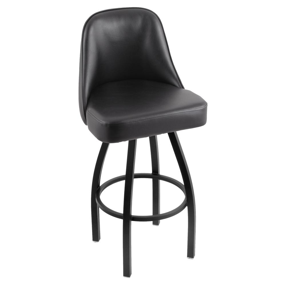 """840 Grizzly 30"""" Swivel Bar Stool with Black Wrinkle Finish and Black Vinyl Seat. Picture 1"""