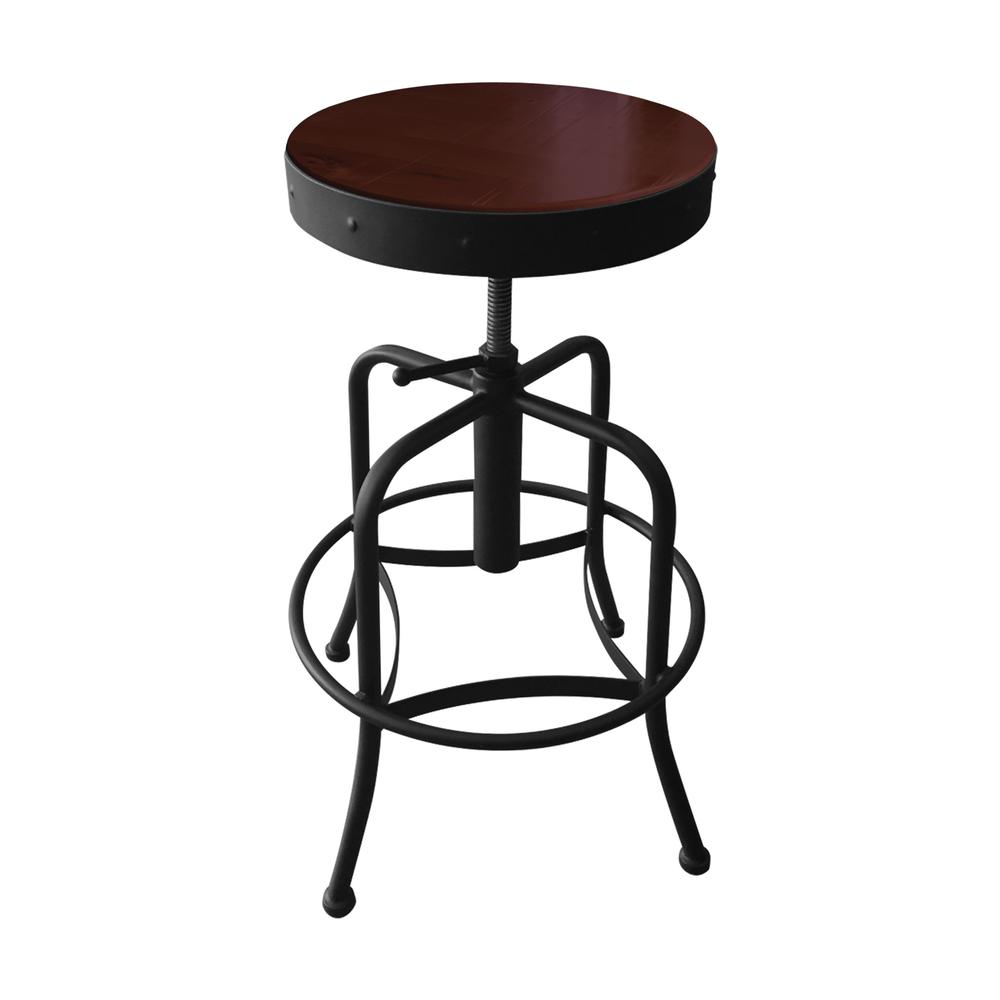 910 Industrial-Adjustable Stool with Black Wrinkle Finish and Dark Cherry Distressed Hardwood Seat. Picture 1