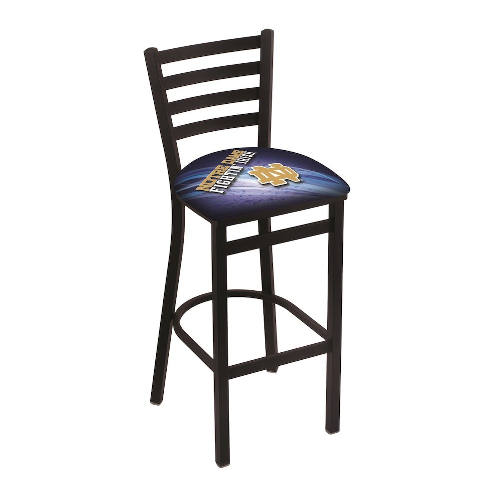 """L004 - 30"""" Black Wrinkle Notre Dame (ND) Stationary Bar Stool with Ladder Style Back by Holland Bar Stool Co.. Picture 1"""