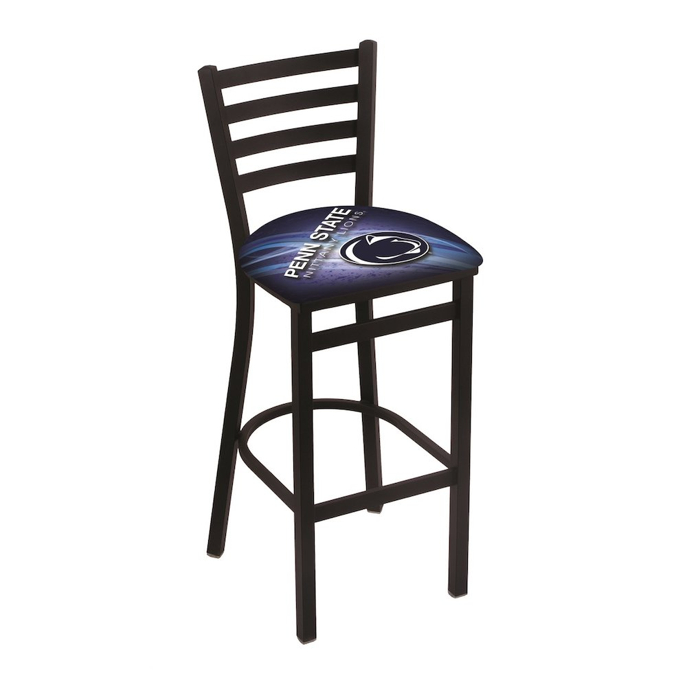 """L004 - 30"""" Black Wrinkle Penn State Stationary Bar Stool with Ladder Style Back by Holland Bar Stool Co.. Picture 1"""